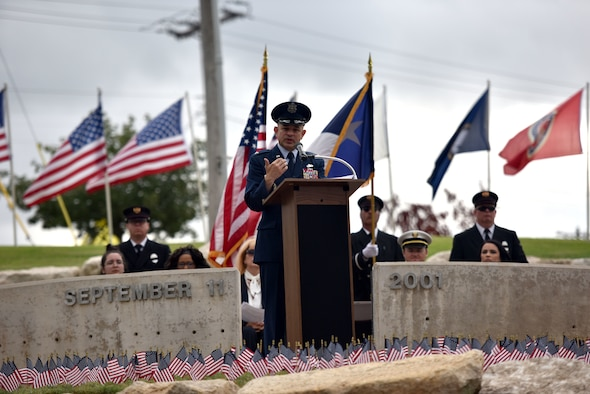 U.S. Air Force Col. Andres Nazario, 17th Training Wing commander, speaks during the 9/11 Memorial Ceremony at the San Angelo Fine Arts Museum in San Angelo, Texas, Sept. 11, 2019. Nazario reminded the attendees how it is American's responsibility to remember the events of that day and to honor those who gave their lives. (U.S. Air Force photo by Senior Airman Seraiah Wolf/Released)