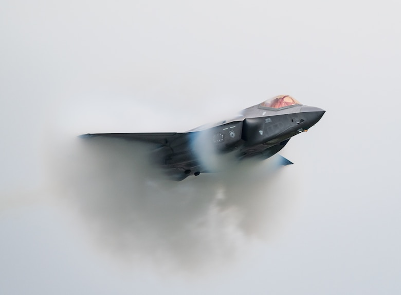 F-35 Lightning II performs aerial maneuvers