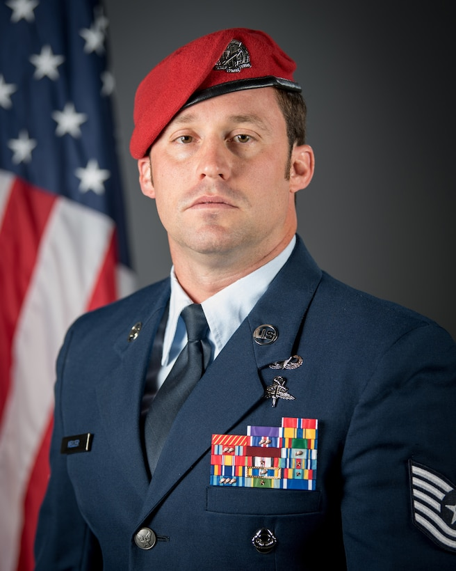 Tech. Sgt. Daniel Keller, a combat controller in the Kentucky Air National Guard's 123rd Special Tactics Squadron, was presented with the Air Force Cross by Air Force Chief of Staff Gen. David L. Goldfein during a ceremony at the Kentucky Air National Guard Base in Louisville, Ky, Aug.13, 2019. Keller earned the medal for valor on the battlefield in Afghanistan. (U.S. Air National Guard photo by Staff Sgt. Joshua Horton)