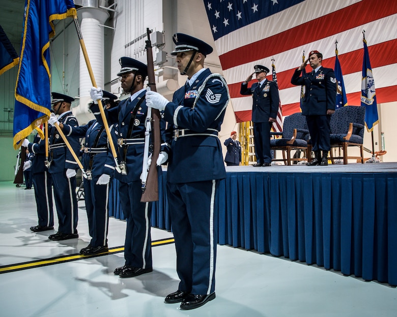 The 123rd Airlift Wing Honor Guard presents the colors during a ceremony at the Kentucky Air National Guard Base in Louisville, Ky, Aug.13, 2019, to bestow the Air Force Cross on Tech. Sgt. Daniel Keller, a combat controller in the 123rd Special Tactics Squadron. Keller earned the award — second only to the Medal of Honor — for valor on the battlefield in Afghanistan. (U.S. Air National Guard photo by Staff Sgt. Joshua Horton)