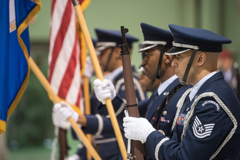 The 123rd Airlift Wing Honor Guard presents the colors during a ceremony at the Kentucky Air National Guard Base in Louisville, Ky, Aug.13, 2019, to bestow the Air Force Cross on Tech. Sgt. Daniel Keller, a combat controller in the 123rd Special Tactics Squadron. Keller earned the medal for valor on the battlefield in Afghanistan. (U.S. Air National Guard photo by Staff Sgt. Joshua Horton)
