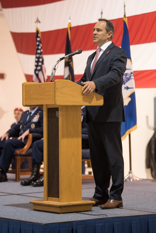 Kentucky Gov. Matt Bevin speaks to 400 Airmen and family members during an award ceremony at the Kentucky Air National Guard Base in Louisville, Ky, Aug.13, 2019. At the ceremony, Air Force Chief of Staff Gen. David L. Goldfein presented Tech. Sgt. Daniel Keller, a combat controller in the 123rd Special Tactics Squadron, with the Air Force Cross, which Keller earned for valor on the battlefield in Afghanistan. (U.S. Air National Guard photo by Staff Sgt. Joshua Horton)