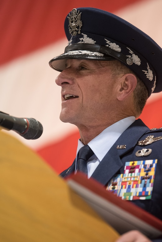 Air Force Chief of Staff Gen. David L. Goldfein speaks to 400 Airmen and family members during an award ceremony at the Kentucky Air National Guard Base in Louisville, Ky, Aug.13, 2019. At the ceremony, Goldfein presented Tech. Sgt. Daniel Keller, a combat controller in the 123rd Special Tactics Squadron, with the Air Force Cross, which Keller earned for valor on the battlefield in Afghanistan. (U.S. Air National Guard photo by Staff Sgt. Joshua Horton)