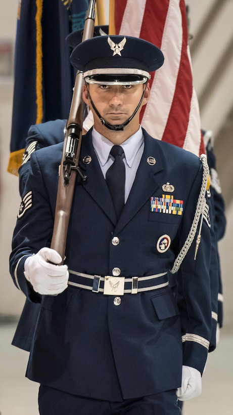 The 123rd Airlift Wing Honor Guard presents the colors during a ceremony at the Kentucky Air National Guard Base in Louisville, Ky, Aug.13, 2019, to bestow the Air Force Cross on Tech. Sgt. Daniel Keller, a combat controller in the 123rd Special Tactics Squadron. Keller earned the medal for valor on the battlefield in Afghanistan. (U.S. Air National Guard photo by Dale Greer)