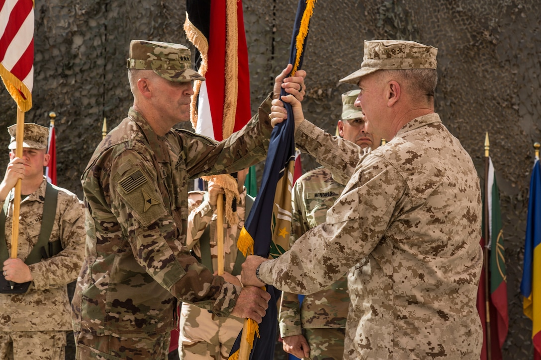 U.S Marine Corps Gen. Kenneth Mckenzie transfers authority of the Combined Joint Task Force- Operation Inherent Resolve (CJTF-OIR)  at the CJTF-OIR transfer of authority ceremony in Baghdad, Iraq, Sept. 14, 2019. The U.S. Army's XVIII Airborne Corps, deployed from Fort Bragg, North Carolina to areas in Southwest Asia, transferred its command authority to the III Armored Corps, deployed from Fort Hood, Texas. CJTF-OIR is a 81-member global coalition, which works by, with, and through partner forces to defeat ISIS in designated areas of Iraq and Syria, and sets conditions for follow-on operations to increase regional stability.