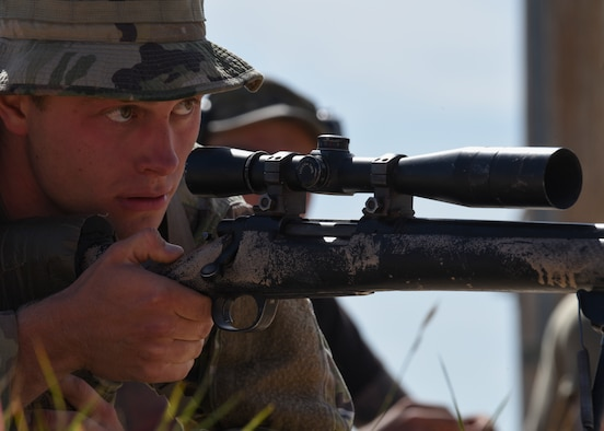 Senior Airman Dillion Bruce, 90th Security Support Squadron tactical response force member, sets up his final shot at the Nuclear Advanced Designated Marksman course, at Camp Guernsey, Wyo., Sept. 29, 2019. For their final shot, students had two minutes to get into position, estimate target range, adjust for external factors and hit a stationary hostile target within one degree of friendly forces. (U.S. Air Force photo by Staff Sgt. Ashley N. Sokolov)