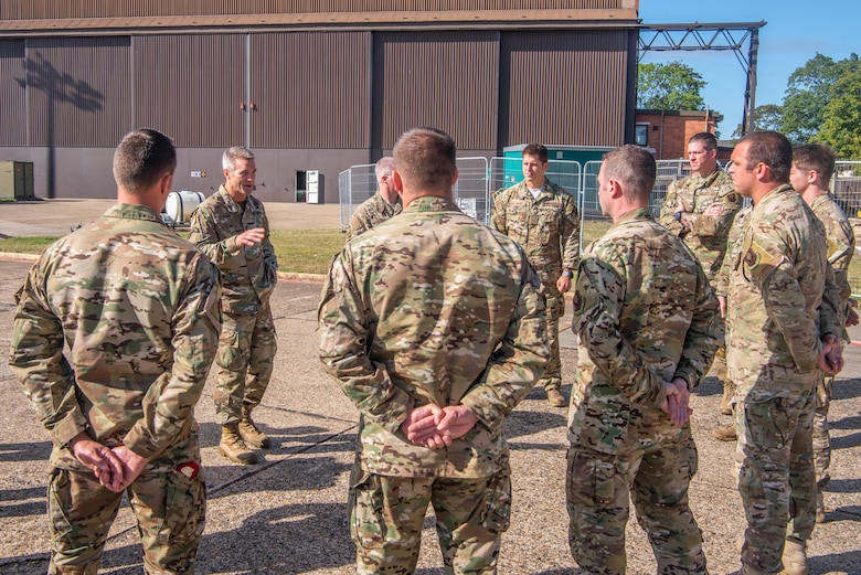 U.S. Army Gen. Richard D. Clarke, United States Special Operations Command commander, speaks with 352nd Special Operations Wing special tactics operators at RAF Mildehall, England, Sept. 12, 2019. The mission of the 352nd SOW, part of Air Force Special Operations Command, is to provide combat ready, responsive, specialized airpower and combat support to execute the full spectrum of SOF missions. (U.S. Air Force photo by Airman 1st Class Joseph Barron)