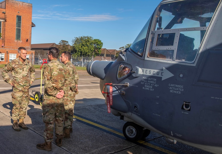 U.S. Army Gen. Richard D. Clarke, United States Special Operations Command commander, speaks with flying crew chiefs assigned to the 352nd Special Operations Wing at RAF Mildenhall, England, Sept. 12, 2019. This year, marked the 352nd SOW's first time in Air Force history, to stand up a CV-22 flying crew chief program.