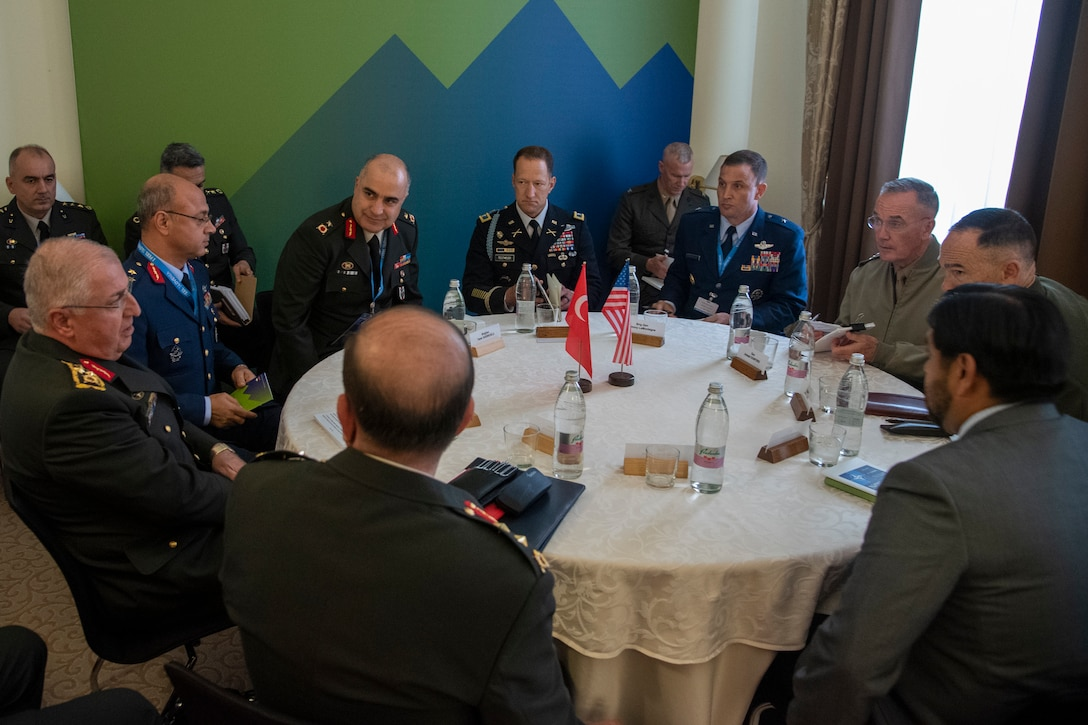 Marine Corps Gen. Joe Dunford, chairman of the Joint Chiefs of Staff, meets with Turkish Army Gen. Yaşar Güler, Chief of the General Staff of the Republic of Turkey, for a bilateral meeting during a break in sessions at the North Atlantic Treaty Organization Military Committee Conference in Ljubljana, Slovenia, Sept. 14, 2019.