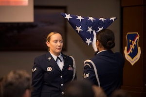 Members of the 39th Air Base Wing Honor Guard perform a ceremonial flag fold during a 9/11 remembrance ceremony Sept. 11, 2019, at Incirlik Air Base, Turkey. The ceremony was held to honor and remember the many lives who were lost that day and the thousands of lives lost fighting in the Global War on Terror. (U.S. Air Force photo by Staff Sgt. Ceaira Tinsley)