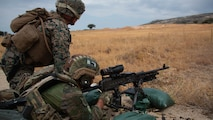 A Spanish soldier fires an M240B medium machine gun during a bilateral exercise in Ronda, Spain, Sept. 4, 2019. U.S. Marines with Special Purpose Marine Air-Ground Task Force-Crisis Response-Africa 19.2, Marine Forces Europe and Africa, trained alongside their Spanish counterparts to increase proficiency as a crisis response force and enhance bilateral interoperability with their allies. SPMAGTF-CR-AF is deployed to conduct crisis-response and theater-security operations in Africa and promote regional stability by conducting military-to-military training exercises throughout Europe and Africa. (U.S. Marine Corps photo by Lance Cpl. Gumchol Cho)