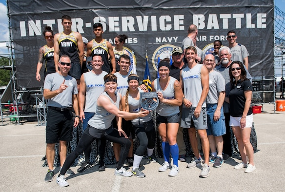 Air Force members pose for a photograph after winning the 2019 Alpha Warrior Inter-Service Battle Sept. 14, 2019, at the Alpha Warrior Proving Grounds, Selma, Texas. The Army came in second place and the Navy third place. The Air Force partnered with Alpha Warrior three years ago to deliver functional fitness training to Airmen and their families.