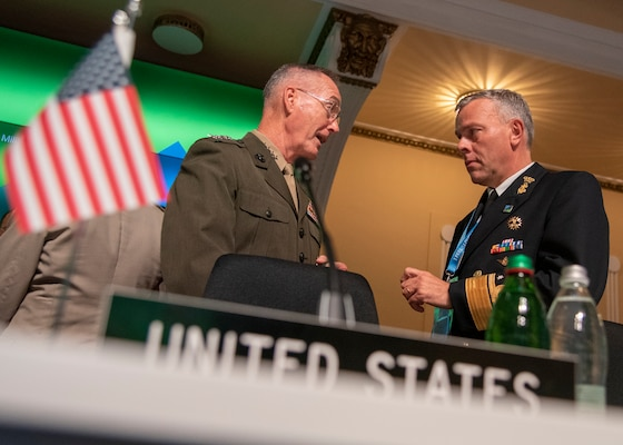 Marine Corps Gen. Joe Dunford, chairman of the Joint Chiefs of Staff, arrives at the North Atlantic Treaty Organization Military Committee Conference in Ljubljana, Slovenia,  Sept. 13, 2019.