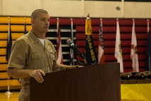 Master Chief Jody Fletcher, II Marine Expeditionary Force command master chief, gives his opening remarks during the Chief Petty Officers Pinning Ceremony on Camp Lejeune, N.C., Sept. 13, 2019. Thirty-three chief selects were pinned to the rank of chief petty officer and among them were two Marines that earned the title of honorary chief petty officer. Before the chief selects can pin on their new rank, they must go through a six-week initiation course in order to instill the trust that is inherent with the donning of the uniform of a chief. (U.S. Marine Corps photo by Cpl. Leynard Plazo)
