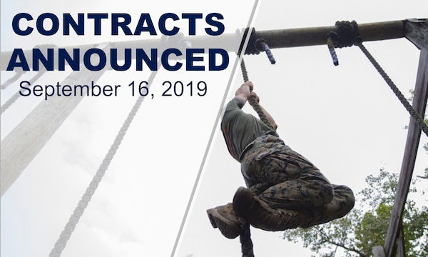 "Marine climbs rope. Text reads: ""Contracts announced September 16, 2019."""