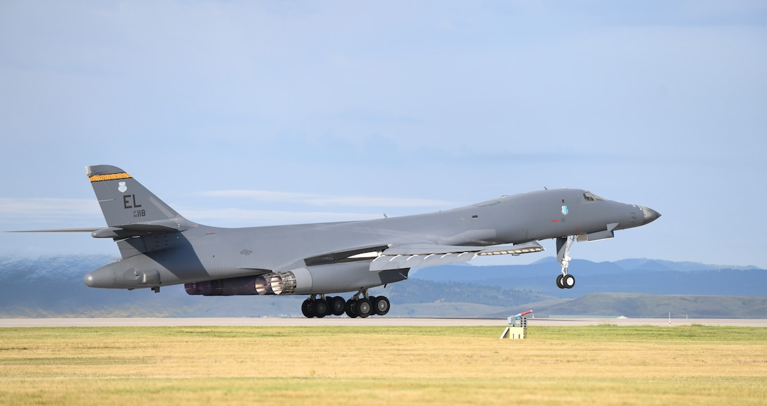 A B-1B Lancer takes off on Ellsworth Air Force Base, S.D., Sept. 10, 2019. Ellsworth AFB is home to the 28th Bomb Wing – the largest B-1 combat wing in the U.S. Air Force. Ellsworth currently has a fleet of 27 B-1B's. (U.S. Air Force photo by Airman 1st Class Christina Bennett)
