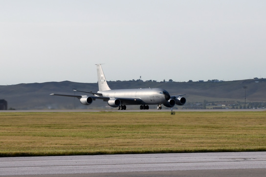 A KC-135 Stratotanker prepares for takeoff at Ellsworth Air Force Base, S.D., Sept. 10, 2019. The KC-135 is an aerial refueling aircraft – its primary fueling method utilizes the tanker's boom. The boom is a long adjustable tube, which is controlled by a boom operator. The boom – situated toward the tail-end of the aircraft – is extended and inserted into the aircraft receiving fuel. (U.S. Air Force photo by Airman 1st Class Christina Bennett)