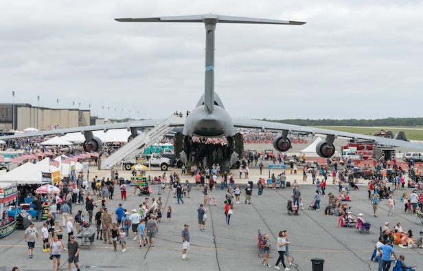 A C-5M Super Galaxy sits on the flight line during the 2019 Thunder Over Dover Air Show, Sept. 14, 2019, at Dover Air Force Base, Del. The event featured over 20 aircraft static displays, as well as numerous aerial demonstrations. (U.S. Air Force photo by Roland Balik)