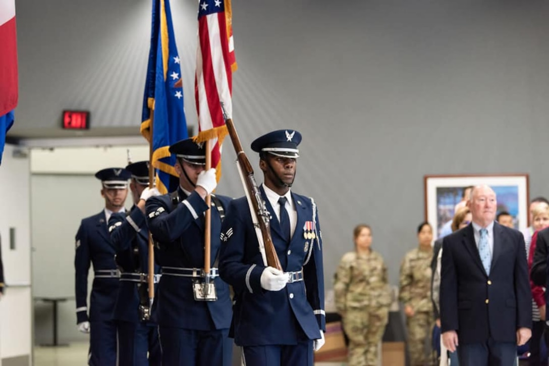Members of the U.S. Air Force Honor Guard post the colors at the start of the Air Force 72nd Birthday celebration Sept. 12 hosted by the Defense Threat Reduction Agency at Fort Belvoir, Virginia.