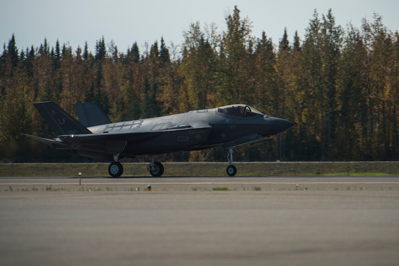 A U.S. Air Force F-35A Lightning II, assigned to the 61st Fighter Squadron, Luke Air Force Base, Ariz., touches down Sept. 6, 2019, at Eielson Air Force Base, Alaska.