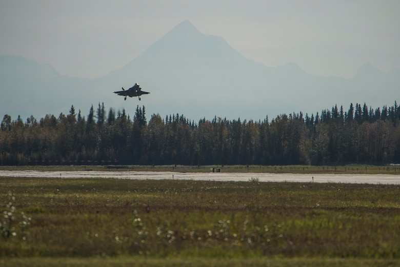 A U.S. Air Force F-35A Lightning II, assigned to the 61st Fighter Squadron, Luke Air Force Base, Ariz., prepares to land Sept. 6, 2019, at Eielson Air Force Base, Alaska.