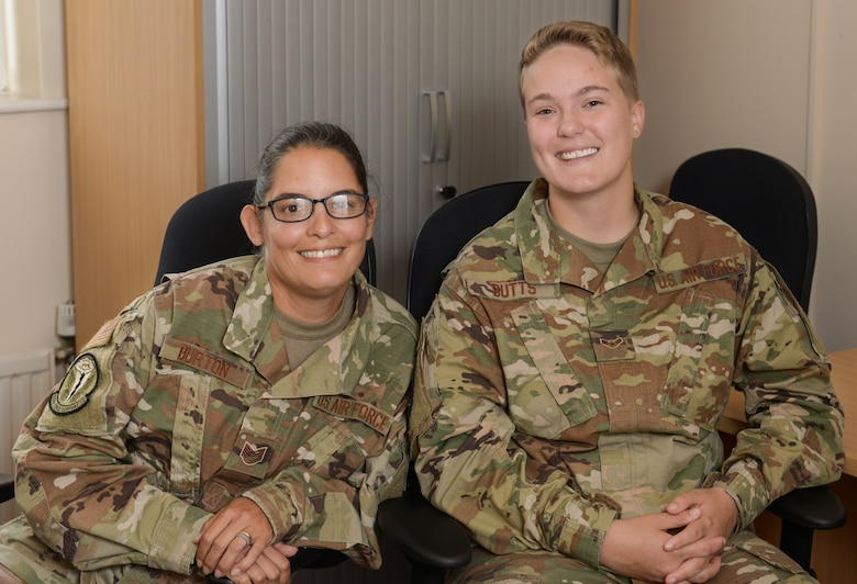 Technical Sergeant Laura Burton, non-commissioned officer in charge of relocations, and Airman 1st Class Ashley Butts, Outbound Journeyman, both assigned to the 509th Force Support Squadron, are deployed as the Personnel Contingency Operation team for the Bomber Task Force mission. They are responsible for the accountability of all Airmen deployed from Whiteman Air Force Base, Mo. during this mission. They also assist with any personnel needs that may arise during the Bomber Task Force.