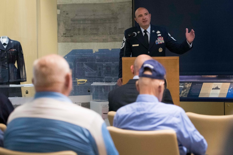 Chief Master Sgt. Christopher M. Yevchak, Air Force District of Washington command chief, speaks at the Armed Forces Retirement Home in Washington D.C., Sept. 13, 2019. Yevchak was the guest speaker for the AFRH's 72nd Air Force birthday celebration for residents and AFDW Airmen. (U.S. Air Force photo by Master Sgt. Michael B. Keller)