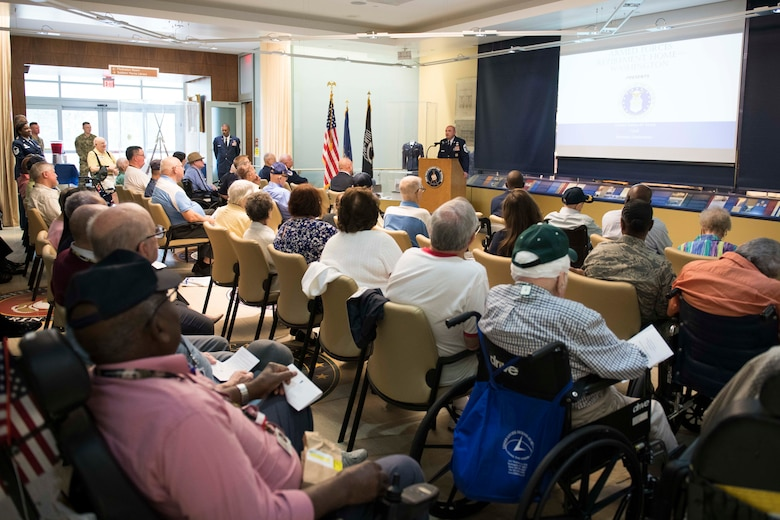 Chief Master Sgt. Christopher M. Yevchak, Air Force District of Washington command chief, speaks during the 72nd Air Force birthday event at the Armed Forces Retirement Home in Washington D.C., Sept. 13, 2019. (U.S. Air Force photo by Master Sgt. Michael B. Keller)