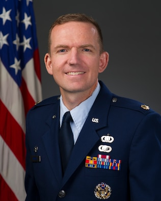 Official Photo of Major Joseph Hansen, commander and conductor of The United States Air Force Band of the Golden West, Travis Air Force Base, Fairfield, CA.