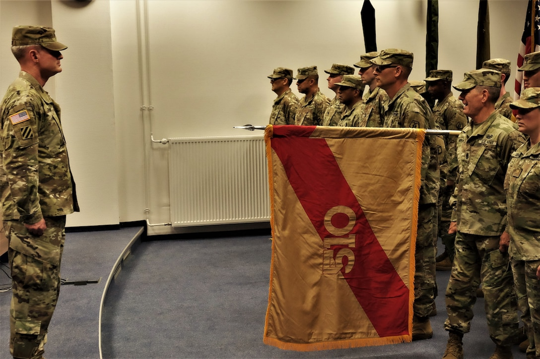 SEMBACH, Germany—U.S. Army Reserve Col. Scott K. Thomson, Deputy Commander of the 7th Mission Support Command, officiates the activation of the 510th Regional Support Group and subordinate units in a ceremony held here at United Sates Army Garrison, Rheinland-Pfalz Sembach Kaserne on Sept. 14, 2019.