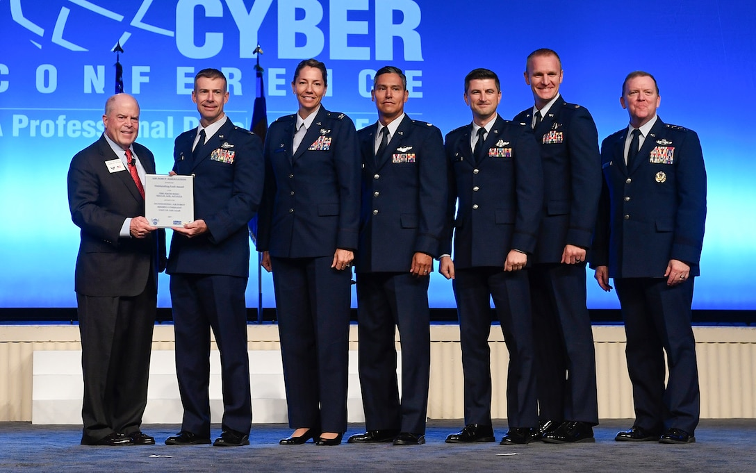 The 926th Wing receives the Air Force Reserve Unit Award during the Air Force Association Air, Space and Cyber Conference in National Harbor, Md., Sept. 16, 2019. (U.S. Air Force photo by Andy Morataya)