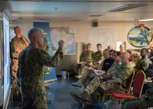 Vice Adm. Jim Malloy, commander, U.S. Naval Forces Central Command, U.S. 5th Fleet and Combined Maritime Forces, delivers remarks during the opening ceremony for International Maritime Security Construct (IMSC) Main Planning Conference aboard HMS Cardigan Bay (K630) Sept. 16. IMSC Task Force is headquartered in Bahrain. Current members include the United Kingdom, Australia, the Kingdom of Bahrain, and the United States.