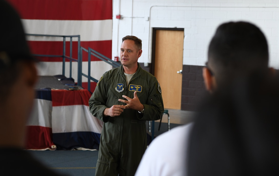 Col. David. A. Doss, the 28th Bomb Wing commander, talks about diversity and its importance at Ellsworth Air Force Base, S.D., Aug. 16, 2019. Ellsworth hosted a Diversity Day event to celebrate all the cultures, heritage and food from different parts of the world and to highlight the diversity on base. (U.S. Air Force photo by Senior Airman Thomas Karol)