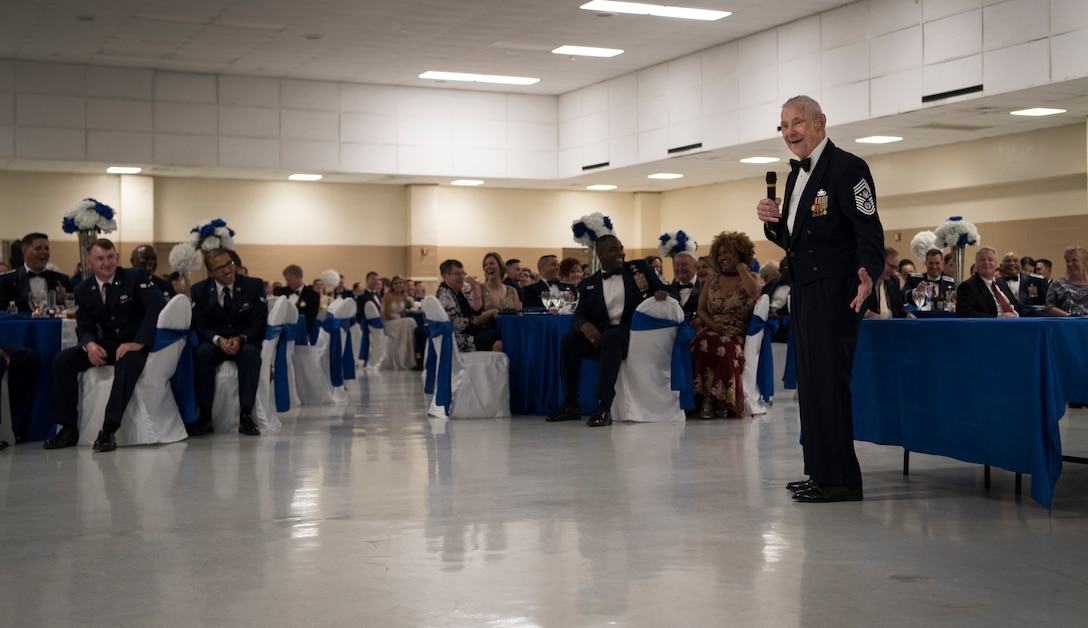 Retired Chief Master Sgt. of the Air Force Robert Gaylor, fifth CMSAF shares stories from his days in the Air Force at Laughlin's Air Force Ball in Del Rio, Texas, Sept. 13, 2019. Gaylor spoke about some life principles that he found helpful, one being trust; something Gaylor said he and his wingmen had to earn. He went on to share how proud he is of today's Airmen and the way they protect and build on that trust Gaylor worked so hard for. (U.S. Air Force photo by Staff Sgt. Benjamin N. Valmoja)