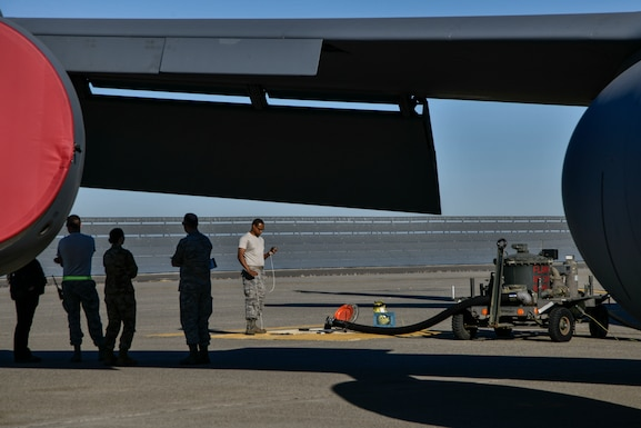 Leadership from both the 9th Logistics Readiness Squadron Petroleum, Oil and Lubricants flight and 940th Aircraft Maintenance Squadron watch as fuels distribution system operators and crew chiefs work together to refuel a KC-135 Stratotanker during a refueling exercise September 6, 2019 at Beale Air Force Base, California. (U.S. Air Force photo by Tech. Sgt. Alexandre Montes)