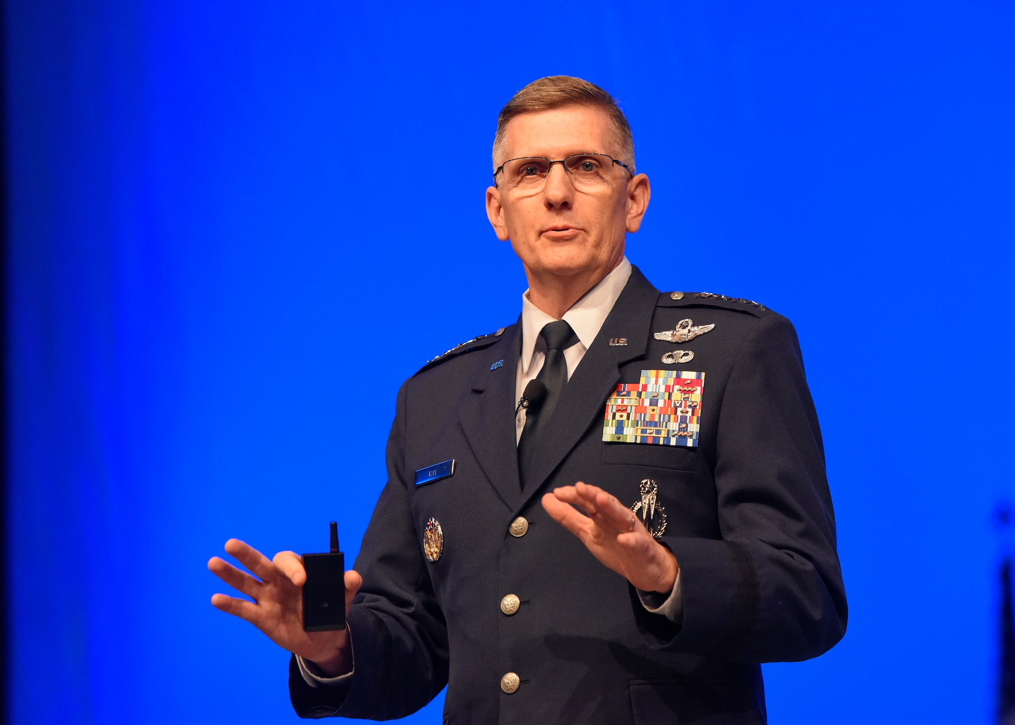 """Gen. Tim Ray, Air Force Global Strike Command commander, discusses """"Global Strike – The Critical Competitive Edge"""" during the Air Force Association Air, Space and Cyber Conference in National Harbor, Md., Sept. 17, 2019. From engaging speakers and panels focused on airpower, space, and cyber developments, to the technology exposition featuring the latest technology, equipment, and solutions for tomorrow's problems, the conference has something for everyone. (U.S. Air Force photo by Staff Sgt. Jeremy L. Mosier)"""