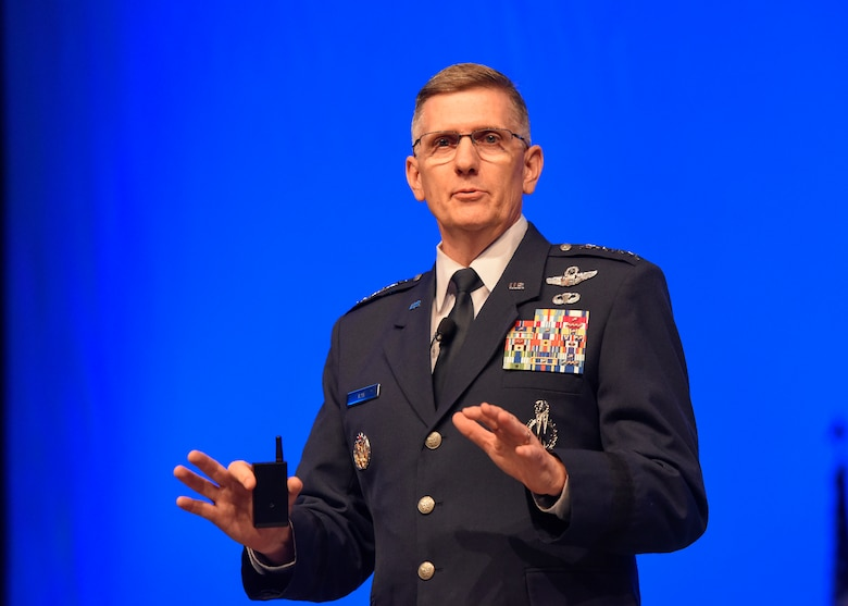 "Gen. Tim Ray, Air Force Global Strike Command commander, discusses ""Global Strike – The Critical Competitive Edge"" during the Air Force Association Air, Space and Cyber Conference in National Harbor, Md., Sept. 17, 2019. From engaging speakers and panels focused on airpower, space, and cyber developments, to the technology exposition featuring the latest technology, equipment, and solutions for tomorrow's problems, the conference has something for everyone. (U.S. Air Force photo by Staff Sgt. Jeremy L. Mosier)"