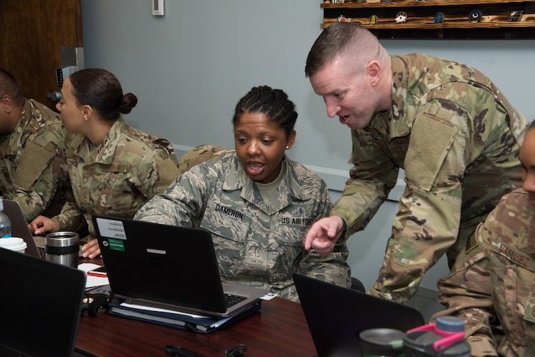 U.S. Air Force First Sergeant Academy Instructor Master Sgt. Robert M. Stephens leads a classroom discussion, Mar. 19, 2019. Stephens is a first sergeant with the Arkansas Air National Guard's 188th Wing, and the first adjunct instructor to teach the academy's new curriculum. (U.S. Air Force photo by William Birchfield)