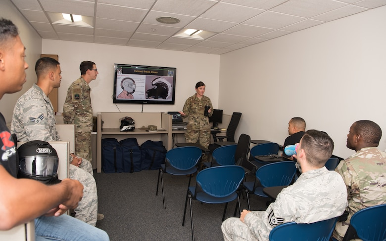 Major Allison Barkalow, the 509th Munitions Squadron commander, speaks to a motorcycle safety class on August 28, 2019, at Whiteman Air Force Base, Missouri. Barkalow stressed the importance of personal protective equipment. (U.S. Air Force photo by Airman 1st Class Parker J. McCauley)