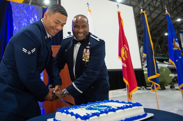 Buckley Air Force Base assemble the 2019 Air Force Ball Sept. 14, 2019, at the Wings over the Rockies Air & Space Museum in Denver. Buckley and other Air Force bases hold annual Air Force Balls to celebrate the Air Force's Birthday. (U.S. Air Force photo by Airman 1st Class Joshua T. Crossman)