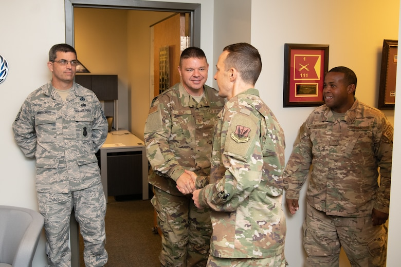 The 192nd Wing command team tours the base at Joint Base Langley-Eustis, Virginia.