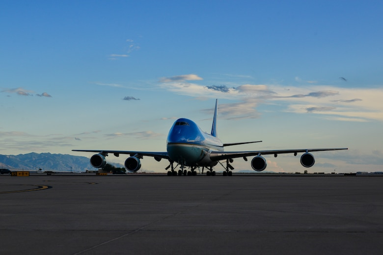 Air Force One lands at Kirtland Air Force Base, N.M., Sept. 16, 2019. The base is home to the Air Force Nuclear Weapons Center and 377th Air Base Wing, Kirtland's host organization, which supports more than 100 mission partners. (U.S. Air Force photo by Staff Sgt. Kimberly Nagle)