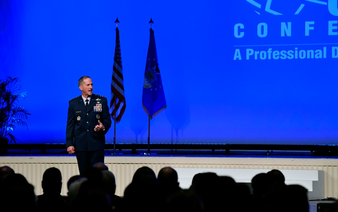 Air Force Chief of Staff Gen. David L. Goldfein delivers his Air Force Update speech during the Air Force Association Air, Space and Cyber Conference in National Harbor, Md., Sept. 17, 2019. The ASC Conference is a professional development seminar that offers the opportunity for Department of Defense personnel to participate in forums, speeches and workshops. (U.S. Air Force photo by Wayne Clark)