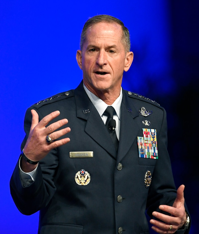 Air Force Chief of Staff Gen. David L. Goldfein delivers an Air Force Update speech during the Air Force Association Air, Space and Cyber Conference in National Harbor, Md., Sept. 17, 2019 The ASC Conference is a professional development seminar that offers the opportunity for Department of Defense personnel to participate in forums, speeches and workshops. (U.S. Air Force photo by Staff Sgt. Chad Trujillo)