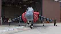 Marines attached to Marine Attack Training Squadron 203, taxi an T/AV-8B Harrier II to outside storage at Marine Corps Air Station Cherry Point, North Carolina, Sep. 16, 2019. Marines attached to VMAT-203 execute daily maintenance to ensure dependability of the aircraft as well as the capability for it be ready at any moment's notice. VMAT-203 is a part of Marine Aircraft Group 14, 2nd Marine Aircraft Wing. (U.S. Marine Corps photo by Lance Cpl. Elias E. Pimentel III)
