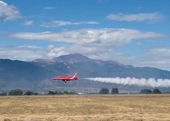 A pilot from the Royal Air Force aerial demonstration team, the Red Arrows, lands a Hawk T1 aircraft Sept. 16, 2019 at Peterson Air Force Base, Colorado. The demonstration team stopped at Peterson AFB as part of their North American tour. (U.S. Air Force photo by Heather Heiney)