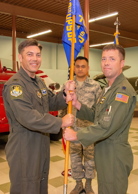 Lt. Col. Judson Darrow assumed command of the 70th Air Refeuling Squadron from Lt. Col. John Benson in a ceremony September 7, 2019, at Travis Air Force Base, Calif.