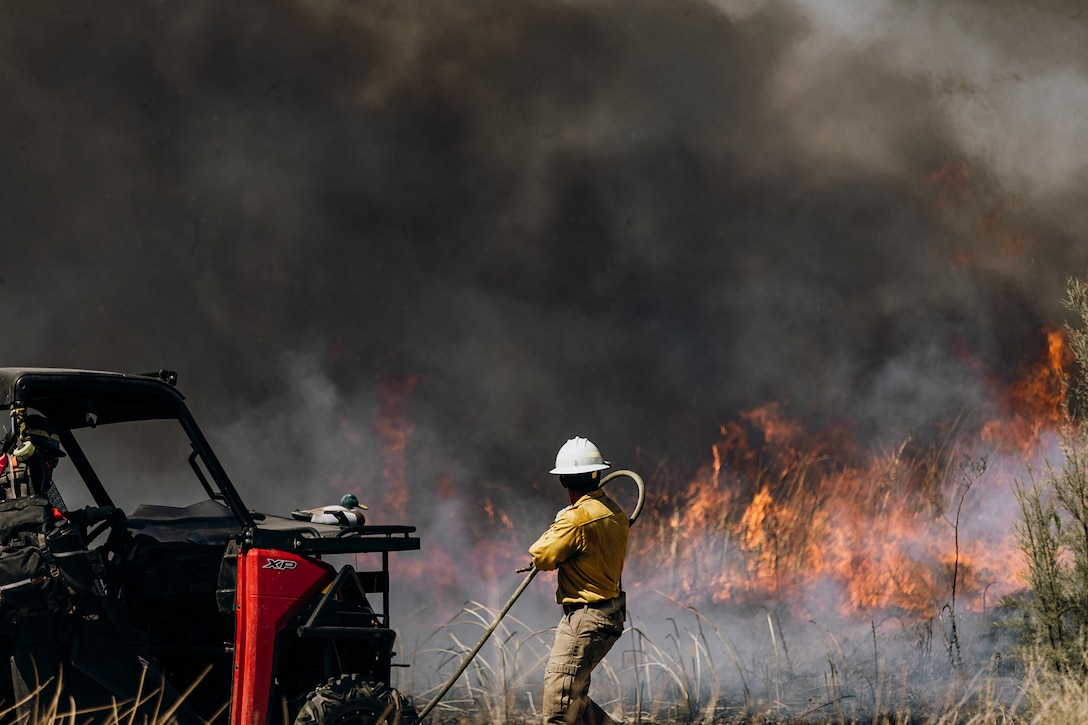 Crews conduct prescribed burns Sept. 5-16, at Edwards Air Force Base, California. The prescribed burn removed old decadent fuels susceptible to wildfire, and for habitat restoration at Piute Ponds at the southwest corner of Edwards. The burns thinned out Tully grass, which is considered an invasive species and competes with native species for natural resources. (U.S. Air Force photo by Harley Huntington)