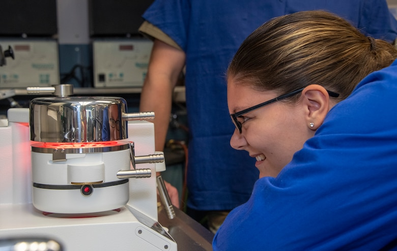 U.S. Air Force Airman 1st Class Elsye Bollenberg, 60th Dental Squadron dental laboratory technician, monitors the material for a dental mouth guard as it heats up to the proper temperature at David Grant USAF Medical Center, Travis Air Force Base, California, Sept. 13, 2019. On an average day, the dental clinic has around 160 dental appointments for active duty service members, including oral and maxillofacial surgical services. (U.S. Air Force photo by Heide Couch)