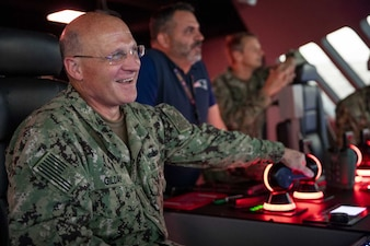 Chief of Naval Operations (CNO) Adm. Mike Gilday visits with Sailors at the Littoral Combat Ship (LCS) Operational Trainer Facility (LTF).
